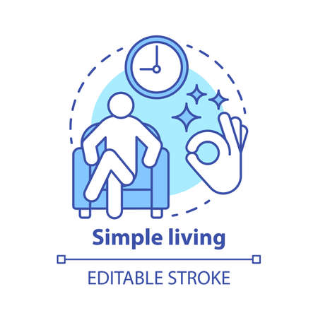 Simple living concept icon. Reducing personal possessions idea thin line illustration. Increasing self-sufficiency, minimalism. Simplify lifestyle. Vector isolated outline drawing. Editable stroke Ilustração