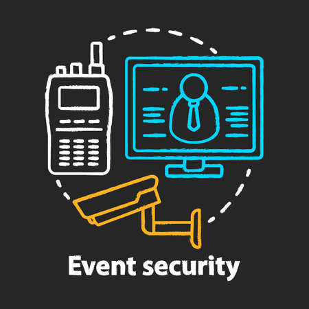 Event security chalk concept icon. Video surveillance and professional monitoring system idea. CCTV. Safety, high protection. Vector isolated chalkboard illustration