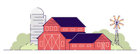 Farm barns flat vector illustration. Village farmland, red rural ranch with grain elevator and backyard windmill. Country farmhouse. Countryside agriculture isolated cartoon concept with outline