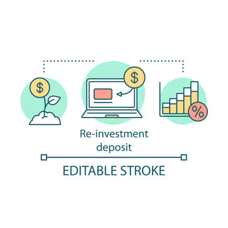 Reinvestment deposit concept icon. Savings idea thin line illustration. Creating investment account. Full profit, interest percentage withdrawal. Vector isolated outline drawing. Editable stroke