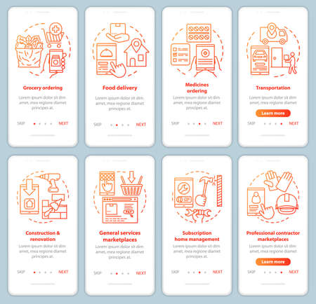 Supply and demand onboarding mobile app page screen vector templates set. Commercial services industry walkthrough website steps with linear illustrations. UX, UI, GUI smartphone interface concepts Illusztráció