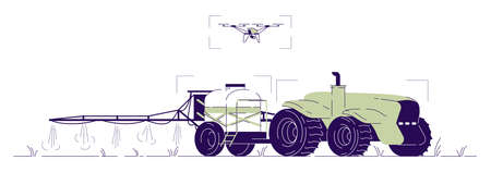 Drone watering tractor flat illustration. Driverless agricultural machinery with UAV control cartoon concept with outline. Self driving tractor with fertilizer spreader, sprinkler for irrigation