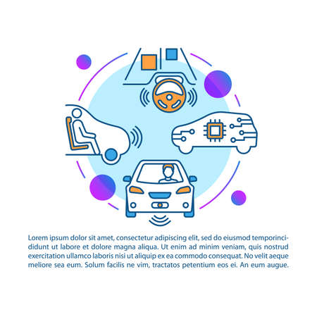 Self-driving car article page vector template. Driverless auto. Robotic vehicle feature brochure, magazine, booklet design element with linear icons and text boxes. Print design. Concept illustrations