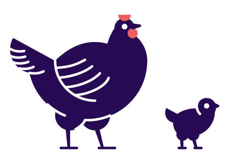 Chicken with chick flat vector illustration. Domestic bird breeding concept. Dark blue hen isolated design element with outline. Poultry farming, hennery symbol on white background