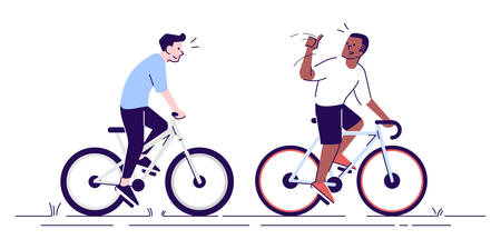 Neighbours on bicycles flat vector illustration. Coach supporting cyclist. Friends, colleagues enjoy riding bikes together isolated cartoon characters with outline elements on white background Illusztráció