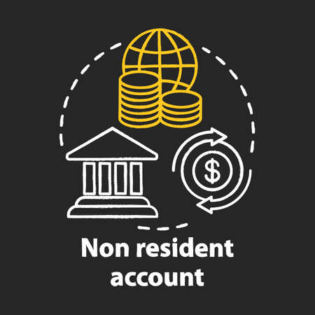 Savings chalk concept icon.  Non resident account idea. Banking plan, agreement for foreigners. Keeping savings abroad. Financial services. Vector isolated chalkboard illustration Иллюстрация
