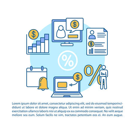 Savings article page vector template. Regular, recurring charges. Brochure, magazine, booklet design element with linear icons and text boxes. Print design. Concept illustrations with text space