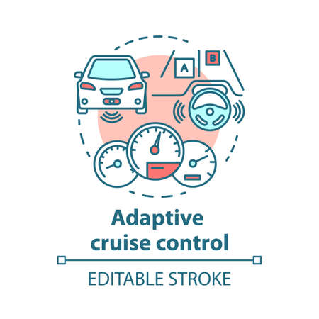 Adaptive cruise control concept icon. System for avoid road collisions. Self-driving car. Autopilot vehicle idea thin line illustration. Vector isolated outline drawing. Editable stroke