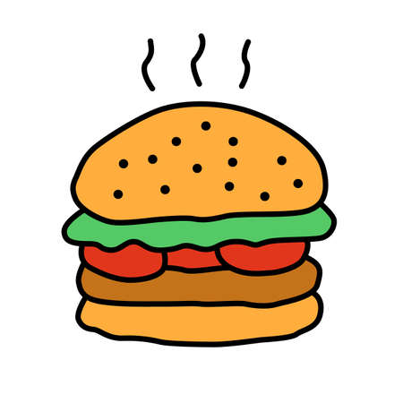Delicious burger color icon. Traditional hamburger, junk food isolated vector illustration. Unhealthy nutrition, harmful food, takeaway service cartoon symbol. Grilled patty with buns and vegetables Ilustração