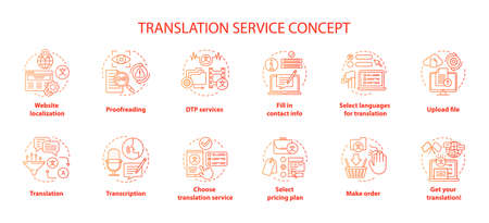 Translation service red concept icons set. Foreign language translation idea thin line illustrations. DTP services and proofreading. Upload file. Vector isolated outline drawings. Editable stroke