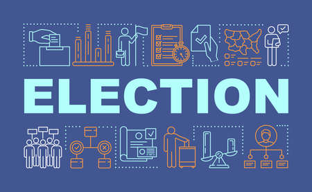 Election word concepts banner. Holding presidential or parliamentary voting. Presentation, website. Citizens ballot. Isolated lettering typography idea with linear icons. Vector outline illustration