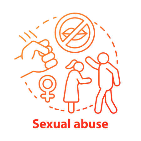 Sexual abuse concept icon. Domestic violence, harassment against women idea thin line illustration. Sex crime. Sexual slavery, assault, rape awareness. Vector isolated outline drawing