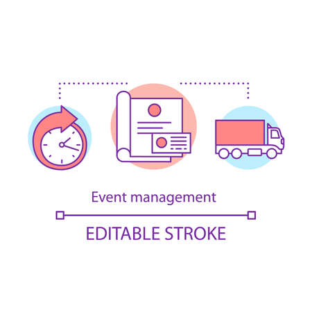 Event management concept icon. Organization idea thin line illustration. Scheduling and logistics. Event agency. Meeting preparation. Vector isolated outline drawing. Editable stroke Stock Illustratie