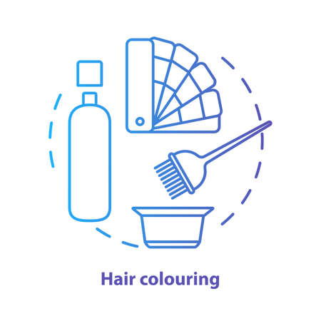 Hair colouring blue concept icon. Hair highlighting and dyein idea thin line illustration. Hairdresser salon, hairstylist parlor. Blue gradient vector isolated outline drawing. Editable stroke
