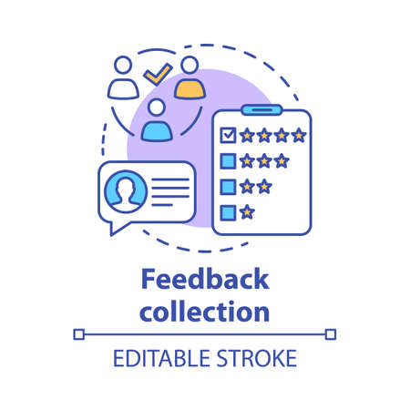 Feedback collection concept icon. Customer service experience idea thin line illustration. Client satisfaction survey, review. Quality evaluation. Vector isolated outline drawing. Editable stroke Archivio Fotografico - 129670989