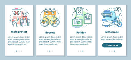 Social protest onboarding mobile app page screen with linear concepts. Public demonstration and boycott walkthrough steps graphic instructions. UX, UI, GUI vector template with illustrations Illusztráció