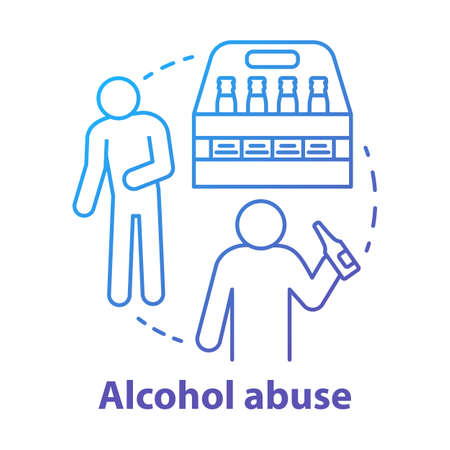 Alcohol abuse concept icon. Alcoholic dependence, addiction idea thin line illustration. Beer alcoholism. Booze and drunkards, drunk men. Vector isolated outline drawing
