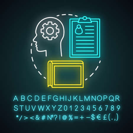 Bibliographic lifestyle neon light concept icon. Information professional idea. Collecting, organizing records and archives. Glowing sign with alphabet, numbers, symbols. Vector isolated illustration Ilustração