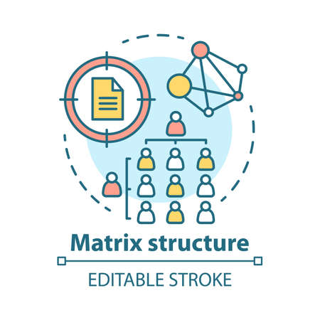 Matrix corporate structure concept icon. Company top management idea thin line illustration. Workflow organization. Staff interaction & workplace environment. Vector isolated drawing. Editable stroke Reklamní fotografie - 129671006