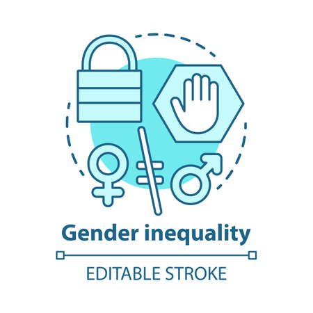Gender inequality concept icon. Sex discrimination idea thin line illustration. Unequal female and male rights. Sexism. Empowerment of women. Vector isolated outline drawing. Editable stroke