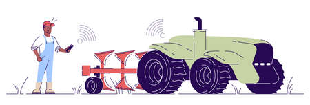 Driverless tractor flat vector illustration. Autonomous agricultural machinery outline concept. Farmer character control cultivator with smartphone. Smart agriculture implement isolated design element