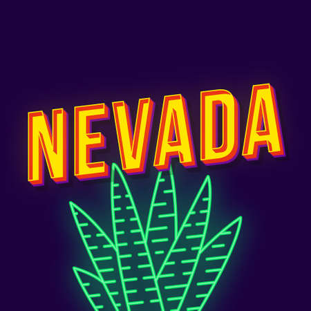 Nevada vintage 3d vector lettering. Retro bold font, typeface. Pop art stylized text. Old school style neon light letters. 90s, 80s poster, banner, t shirt typography design. Violet color background Illustration