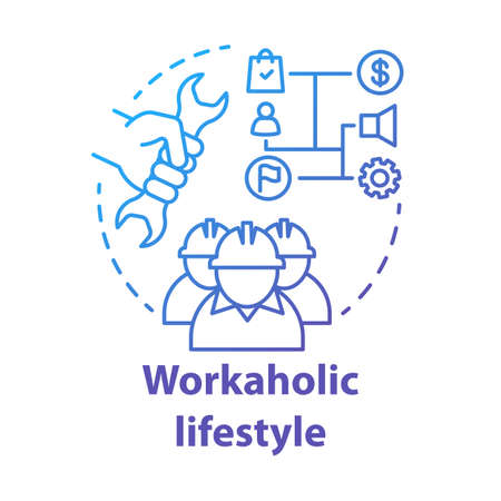 Workaholic lifestyle blue concept icon. Ergomaniac idea thin line illustration. Work addiction, obsessive disorder. Working overtime, behind schedule vector isolated outline drawing. Editable stroke