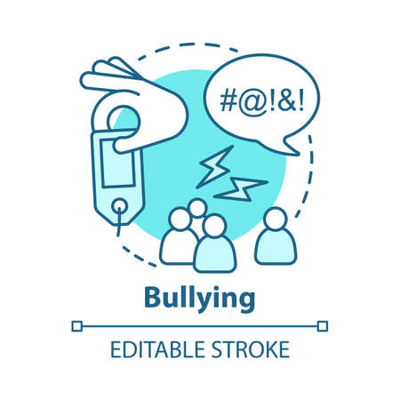 Verbal and social bullying concept icon. Harassment, social abuse and violence idea thin line illustration. Antisocial aggressive behaviour. Vector isolated outline drawing. Editable stroke