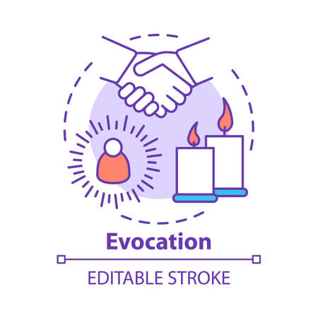 Evocation concept icon. Spiritualistic session, divination service. Occultism and superstition idea thin line illustration. Candles and holding hands vector isolated outline drawing. Editable stroke