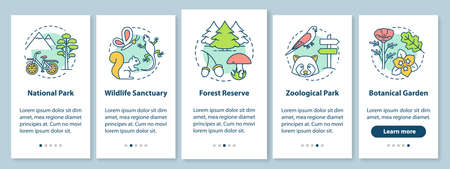 Protected areas for biodiversity onboarding mobile app page screen with linear concepts. National park, forest reserve walkthrough steps graphic instructions. UX, UI, GUI vector template with icons Иллюстрация