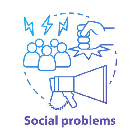 Social problems concept icon. Violence, social abuse and harassment idea thin line illustration. Antisocial behaviour. Conflicts and bullying. Vector isolated outline drawing