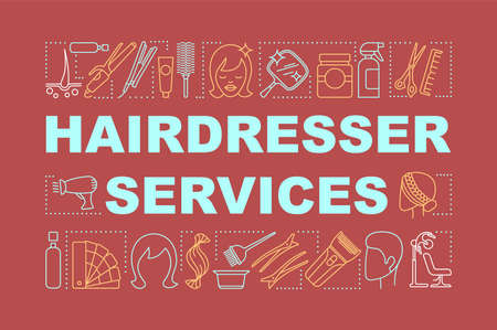 Hairdresser services word concepts banner. Beauty service. Hair salon. Haircut and coloring. Presentation, website. Isolated lettering typography idea, linear icons. Vector outline illustration