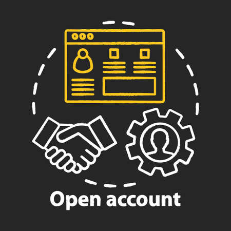 Open bank account chalk concept icon. Savings idea. Striking deal, signing agreement with banking company. Starting partnership. Financial services. Vector isolated chalkboard illustration