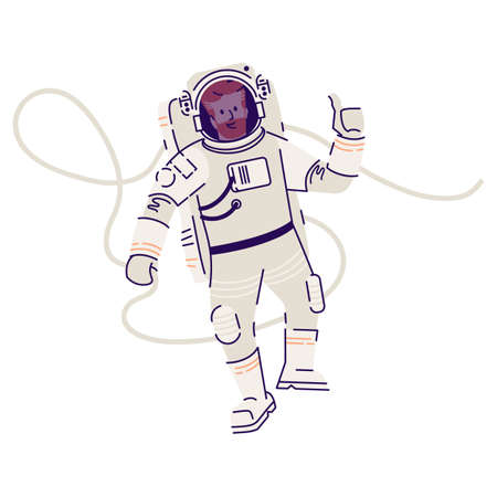 Astronaut in spacesuit floating flat vector illustration. Male cosmonaut, space traveler flying in zero gravity and showing ok sign isolated cartoon character on white background. Cosmic mission Stock fotó - 129559331