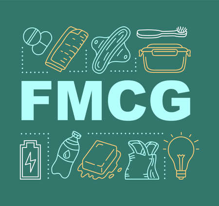 FMCG word concepts banner. Fast moving consumer goods. Low cost and quickly sold products. Presentation, website. Isolated lettering typography idea with linear icons. Vector outline illustration