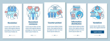 Civil unrest onboarding mobile app page screen with linear concepts. Political revolution and social protest walkthrough steps graphic instructions. UX, UI, GUI vector template with illustrations