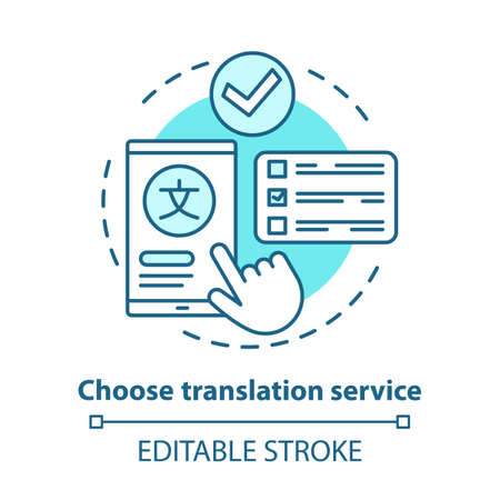 Choose translation service blue concept icon. Multilingual translation idea thin line illustration. Online dictionary app. Language interpretation. Vector isolated outline drawing. Editable stroke