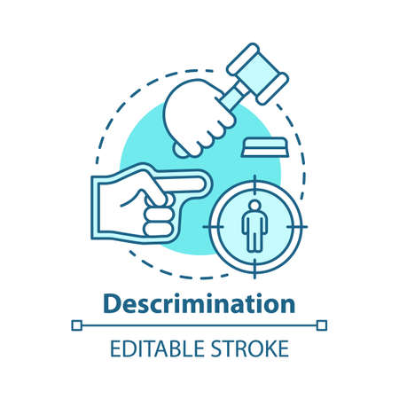 Prejudice & discrimination concept icon. Zero tolerance policy idea thin line illustration. Social inequality. Bullying and rights violation. Vector isolated outline drawing. Editable stroke