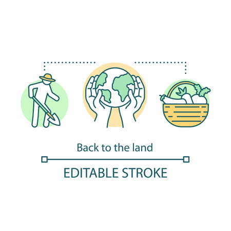 Back to the land concept icon. Agrarian movement idea thin line illustration. Cultivating plants. Agriculture and harvesting. Organic vegetables. Vector isolated outline drawing. Editable stroke