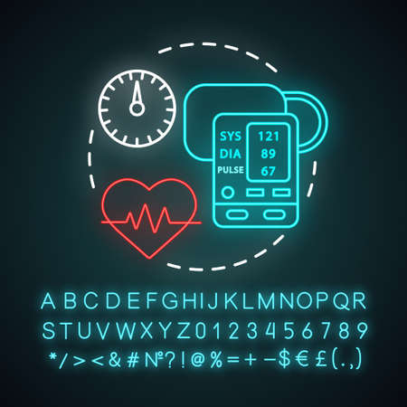 Blood pressure measuring neon light concept icon. Heart functioning monitoring idea. Systolic and diastolic pressure rate. Glowing sign with alphabet, numbers and symbols. Vector isolated illustration Reklamní fotografie - 129672080