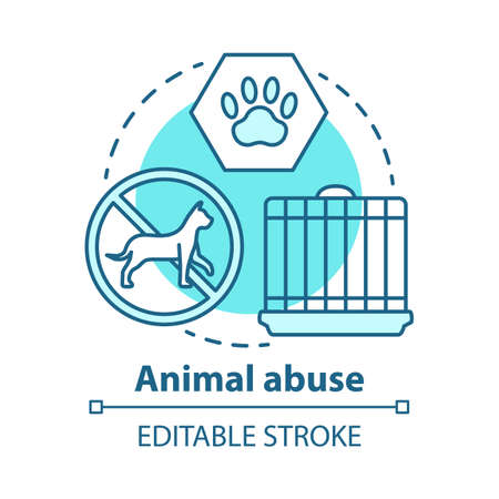 Animal abuse and harm concept icon. Zoosadism. Animal neglect, cruelty and mistreatment idea thin line illustration. Pets rights protection, welfare. Vector isolated outline drawing. Editable stroke Ilustracja