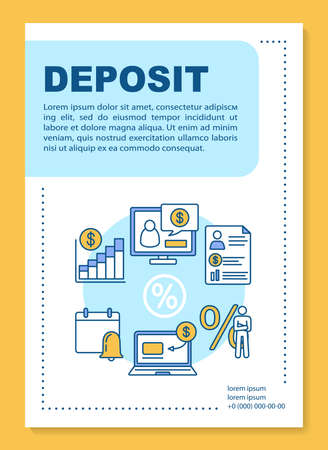 Deposit poster template layout. Accounting and financial advice service. Banner, booklet, leaflet print design with linear icons. Vector brochure page layouts for magazines, advertising flyers  イラスト・ベクター素材