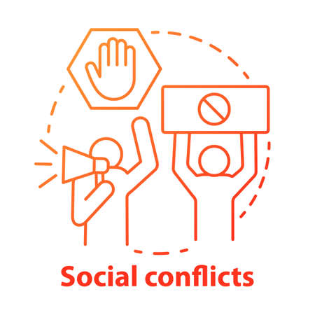 Social conflicts and disputes concept icon. Antisocial behaviour, violence and unrest idea thin line illustration. Riot, strike, civil protest. Vector isolated outline drawing Çizim