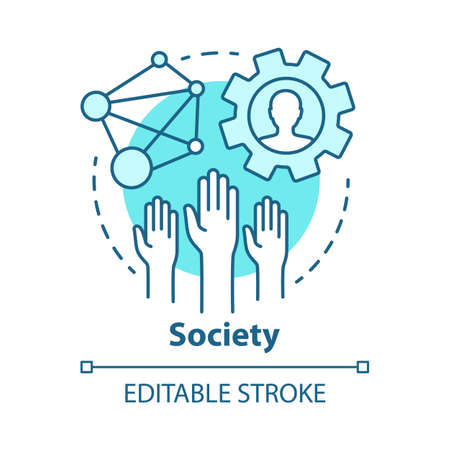 Society concept icon. Community, social integration and relations idea thin line illustration. Social responsibility, solidarity and tolerance. Vector isolated outline drawing. Editable stroke