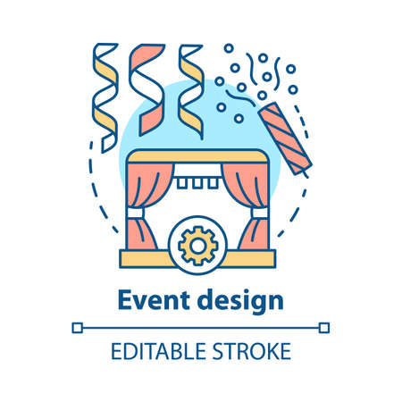 Event design concept icon. Holiday celebration preparation idea thin line illustration. Concert, theater performance planning. Stage construction. Vector isolated outline drawing. Editable stroke