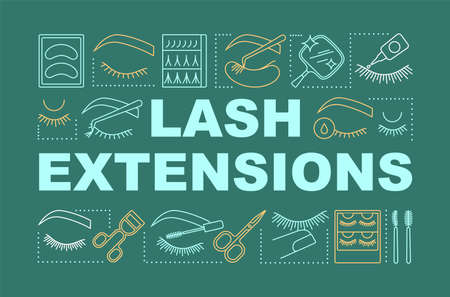 Lash extensions word concepts banner. Beauty service. Classic, 2d and 3d volume. Eyelash curling. Presentation, website. Isolated lettering typography idea, linear icons. Vector outline illustration
