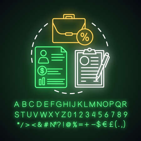 Deposit agreement neon light concept icon. Savings idea. Signing bank contract, legal documentation. Glowing sign with alphabet, numbers and symbols. Vector isolated illustration  イラスト・ベクター素材