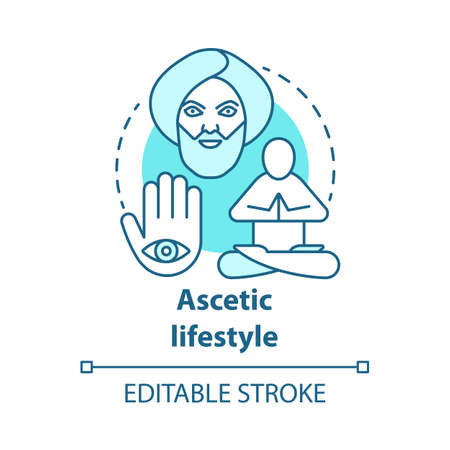 Ascetic lifestyle blue concept icon. Severe self-discipline for religious reasons idea thin line illustration. Achieve spirituality, find inner peace. Vector isolated outline drawing. Editable stroke