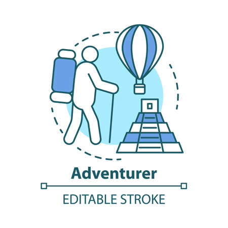 Adventurer concept icon. Adventurous lifestyle idea thin line illustration. Traveling, mountain climbing, participating in extreme sport. Vector isolated outline drawing. Editable stroke