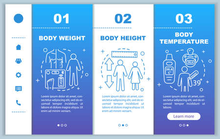 Body measurement onboarding mobile web pages vector template. Responsive smartphone website interface idea with linear illustrations. Body temperature. Webpage walkthrough step screen. Color concept